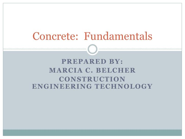 Concrete fundamentals