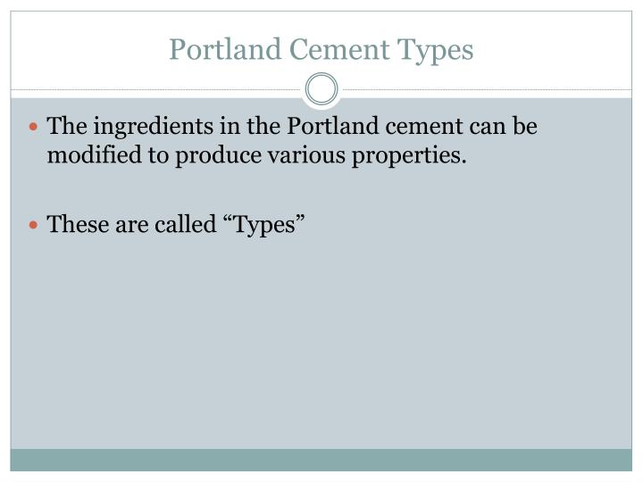 Portland Cement Types