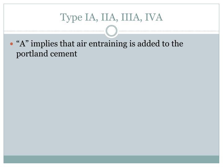 Type IA, IIA, IIIA, IVA