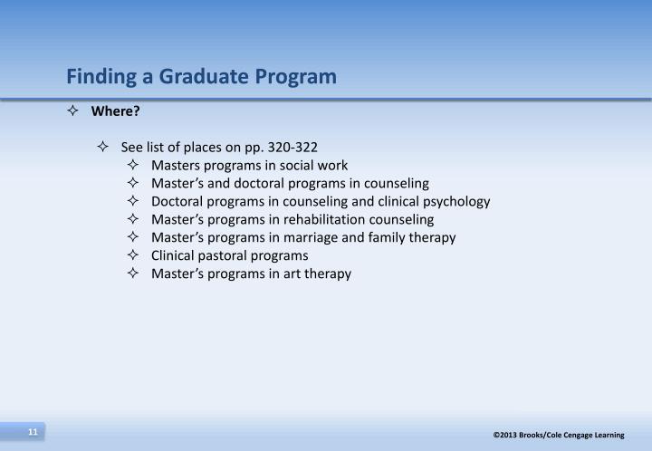 Finding a Graduate Program