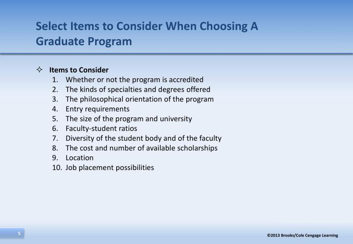 Select Items to Consider When Choosing A Graduate Program