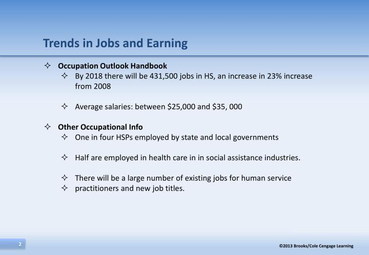 Trends in jobs and earning