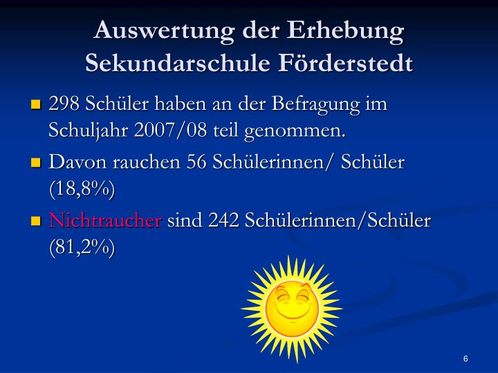 Auswertung der Erhebung Sekundarschule Förderstedt