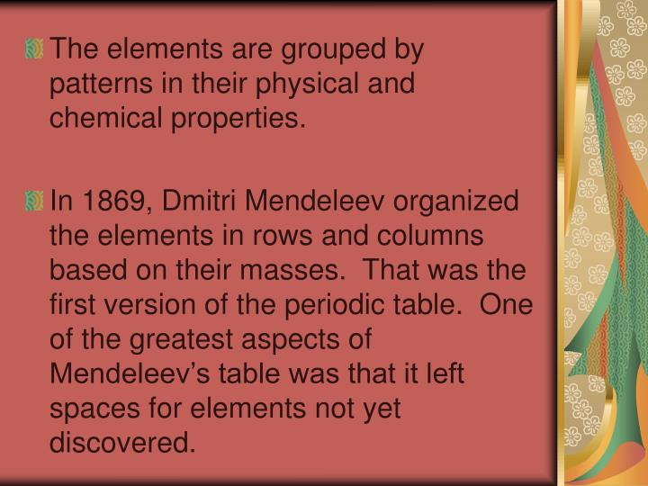 The elements are grouped by patterns in their physical and chemical properties.