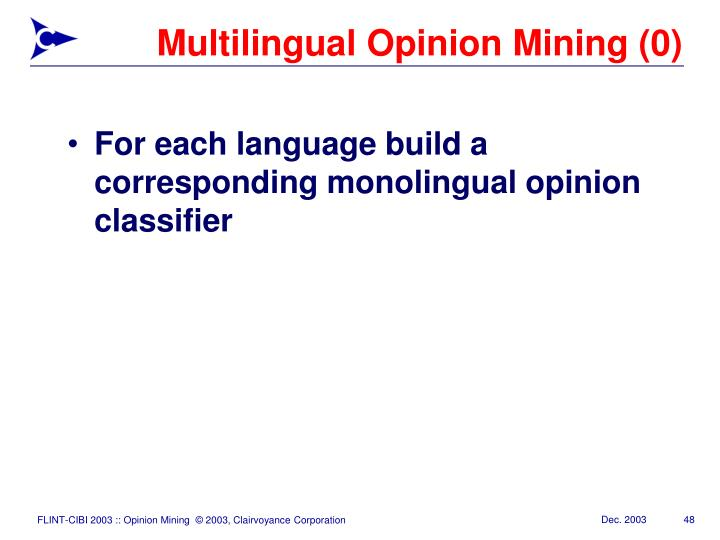 Multilingual Opinion Mining (0)