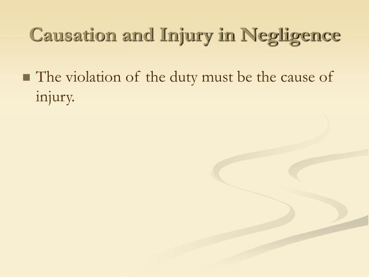 Causation and Injury in Negligence