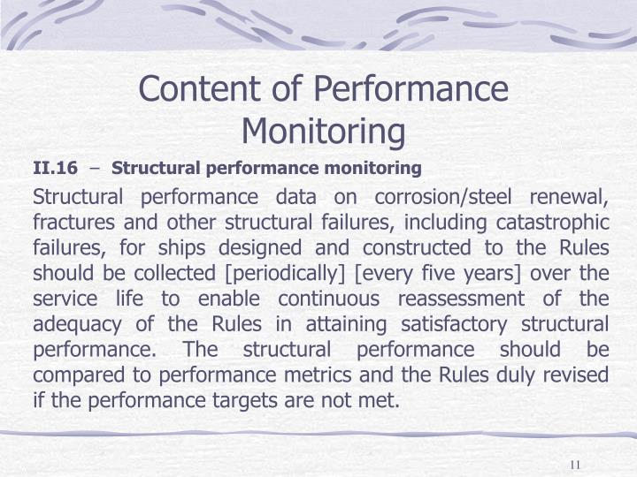 Content of Performance Monitoring