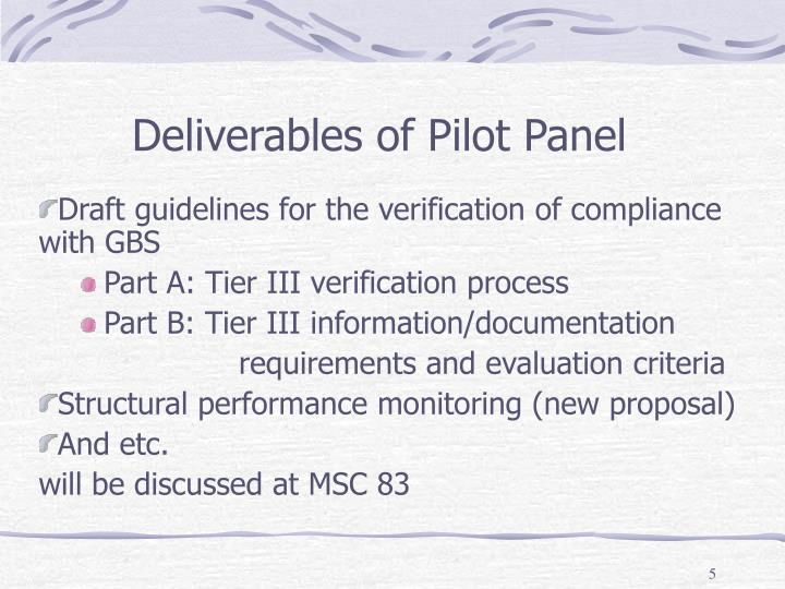 Deliverables of Pilot Panel