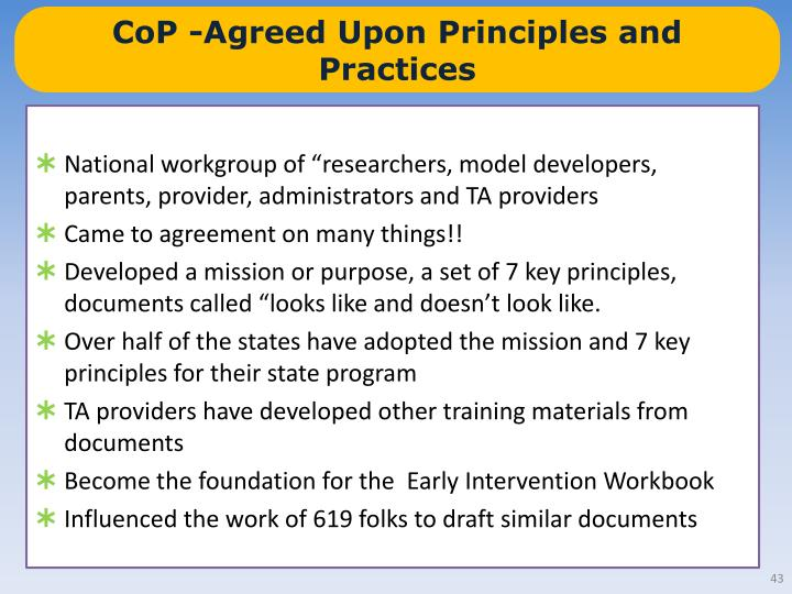 CoP -Agreed Upon Principles and Practices