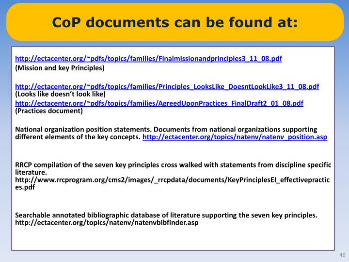 CoP documents can be found at:
