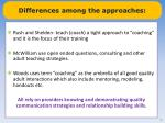 differences among the approaches