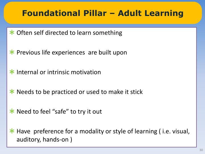 Foundational Pillar – Adult Learning
