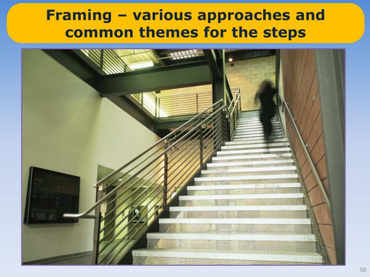 Framing – various approaches and common themes for the steps
