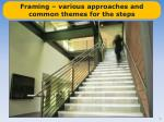 framing various approaches and common themes for the steps