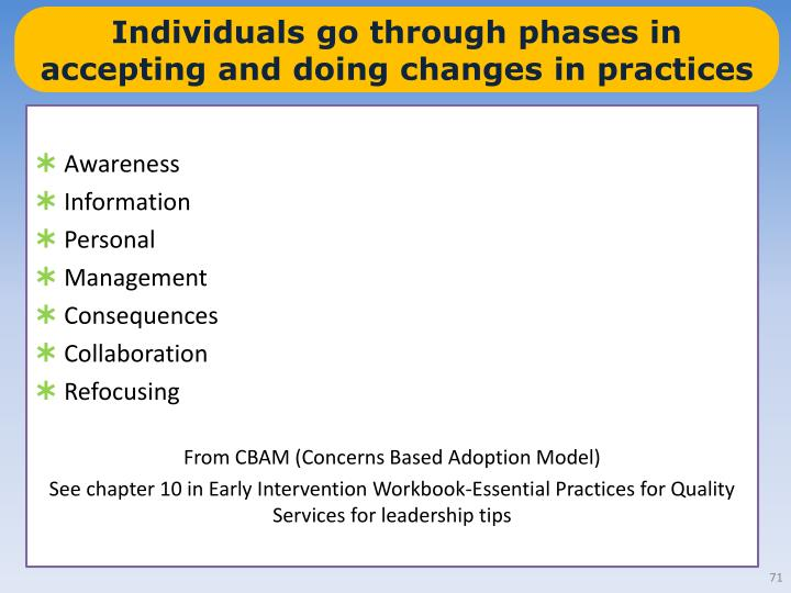 Individuals go through phases in accepting and doing changes in practices