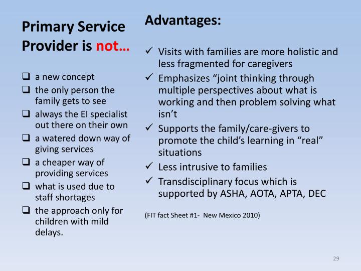 Primary Service Provider is