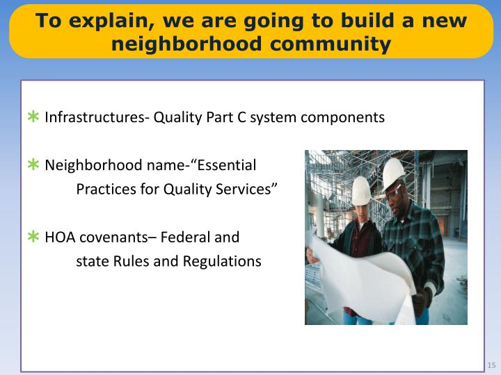 To explain, we are going to build a new neighborhood community