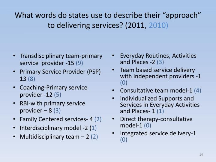 """What words do states use to describe their """"approach"""" to delivering services? (2011,"""