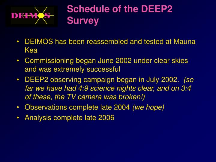 Schedule of the DEEP2 Survey