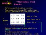 y correction first results