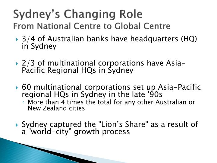 Sydney s changing role from national centre to global centre