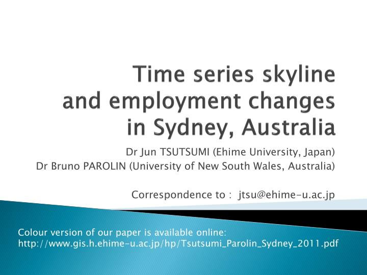 Time series skyline and employment changes in sydney australia
