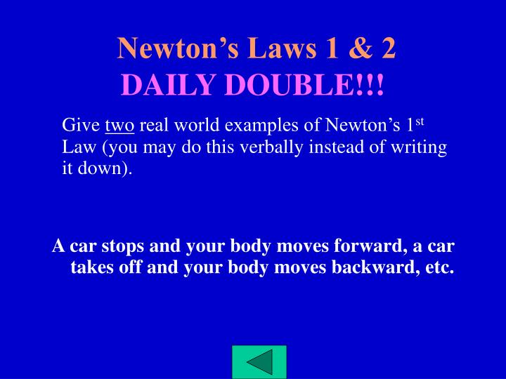 Newton's Laws 1 & 2