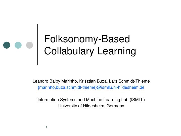 Folksonomy based collabulary learning