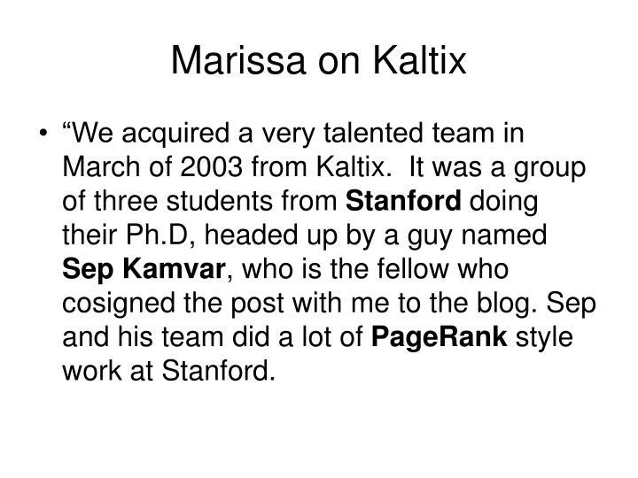 Marissa on Kaltix