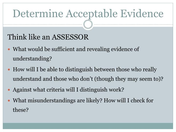 Determine Acceptable Evidence