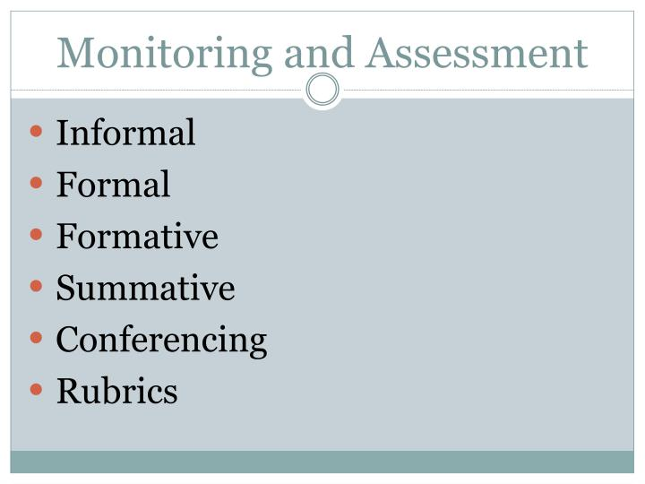 Monitoring and Assessment