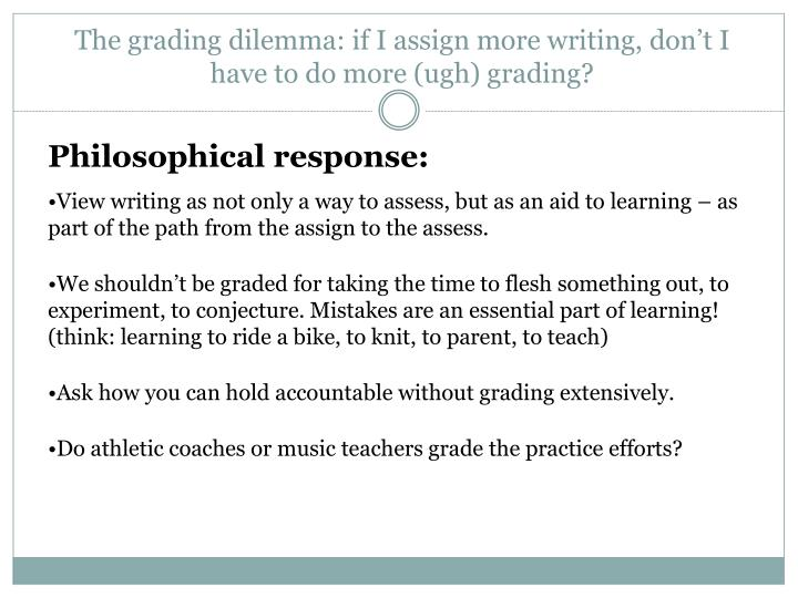 The grading dilemma: if I assign more writing, don't I have to do more (ugh) grading?