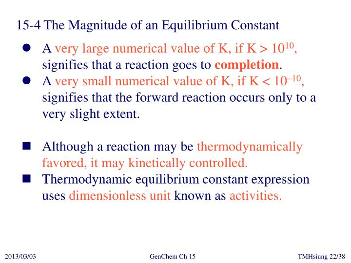 15-4	The Magnitude of an Equilibrium Constant