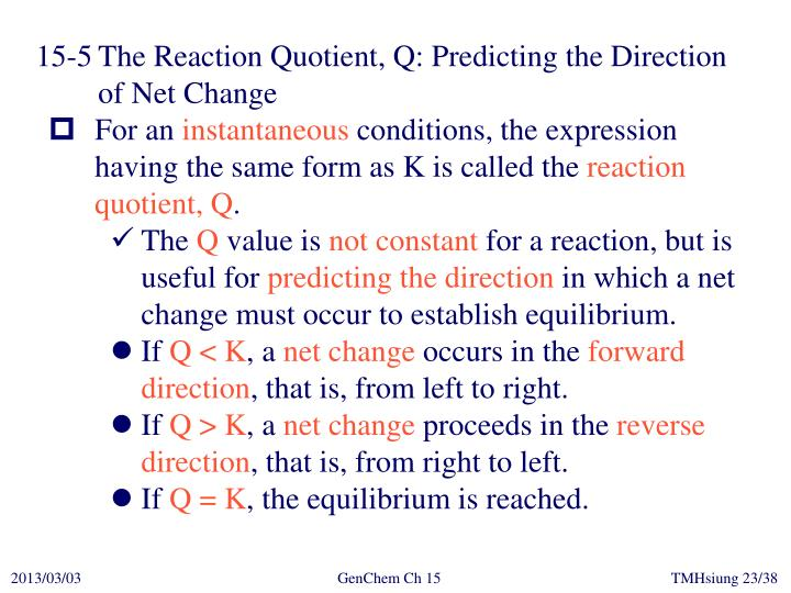 15-5	The Reaction Quotient, Q: Predicting the Direction of Net Change