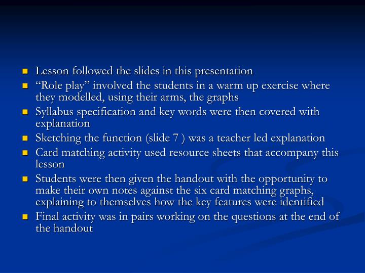Lesson followed the slides in this presentation