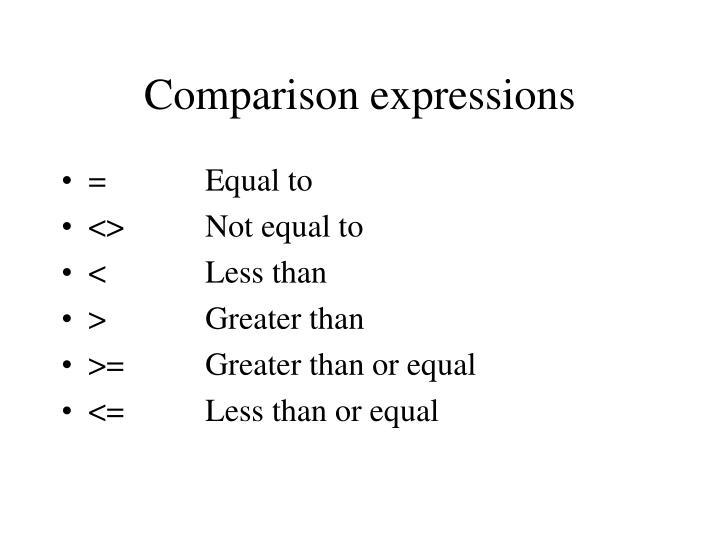 Comparison expressions