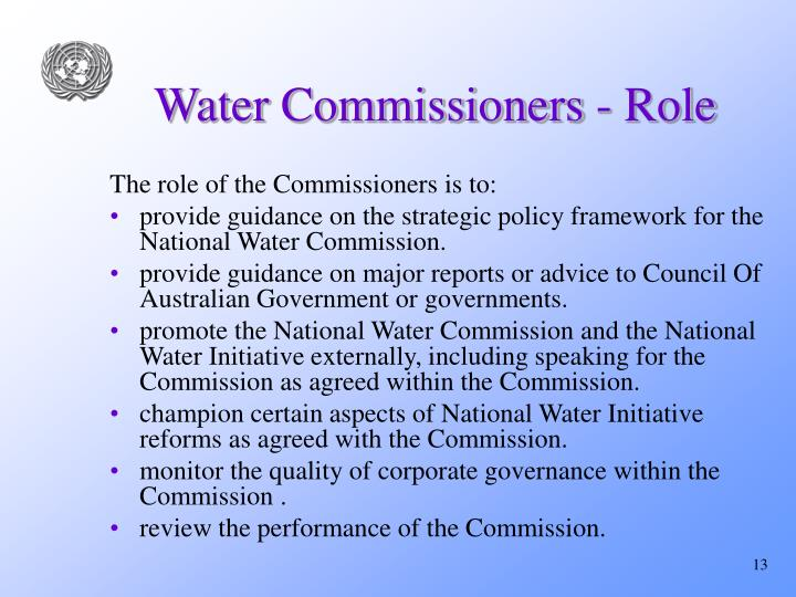 Water Commissioners - Role
