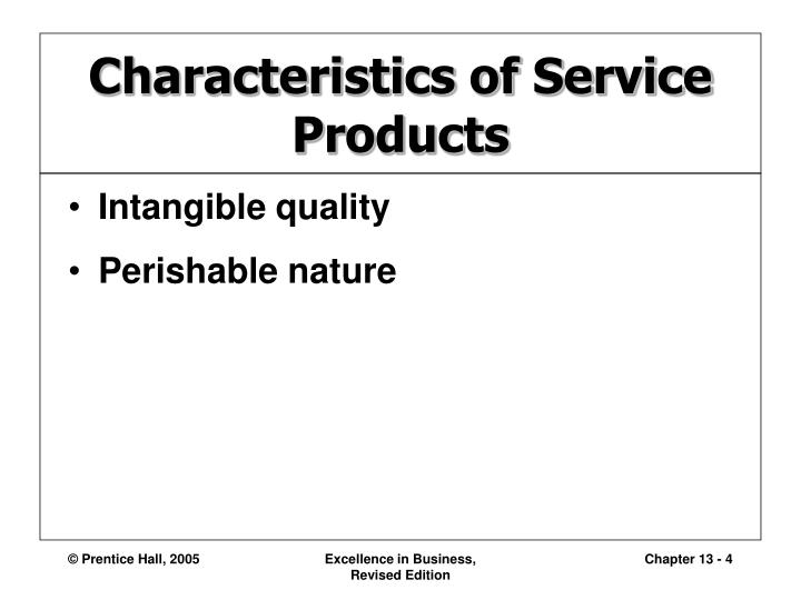Characteristics of Service Products