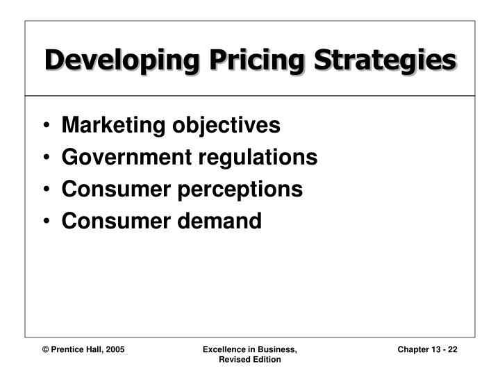 Developing Pricing Strategies