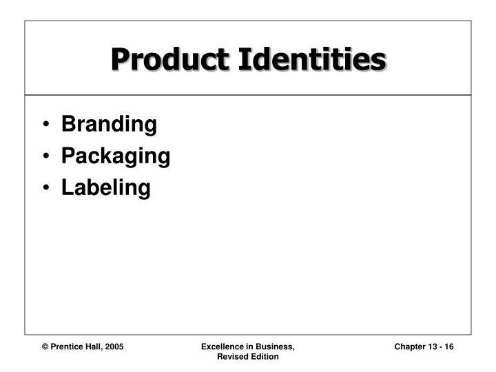 Product Identities