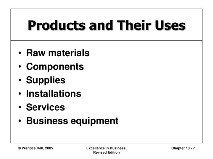Products and Their Uses