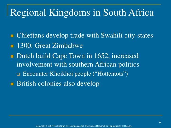Regional Kingdoms in South Africa