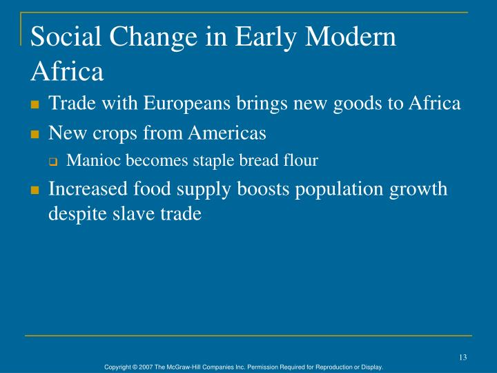 Social Change in Early Modern Africa