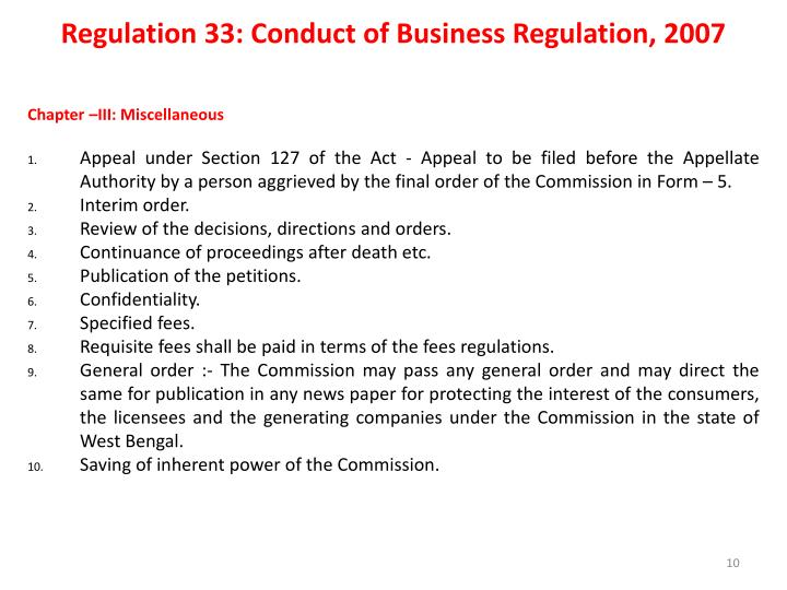 Regulation 33: Conduct of Business Regulation, 2007