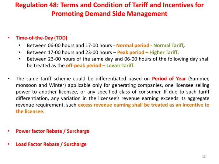 Regulation 48: Terms and Condition of Tariff and Incentives for Promoting Demand Side Management