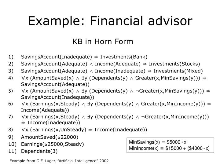Example: Financial advisor