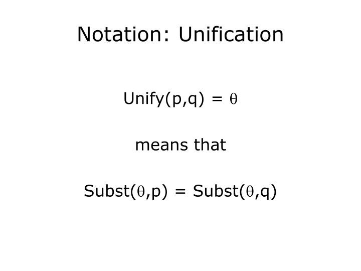 Notation: Unification