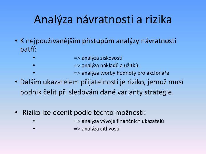 Analýza návratnosti a rizika