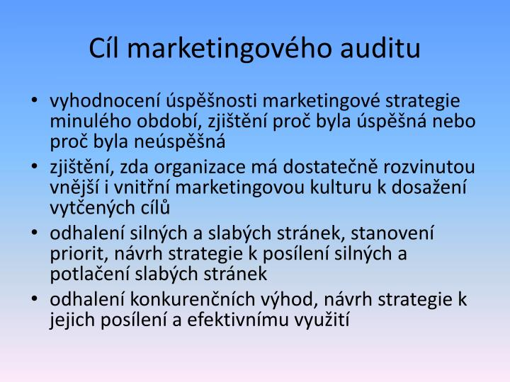 Cíl marketingového auditu