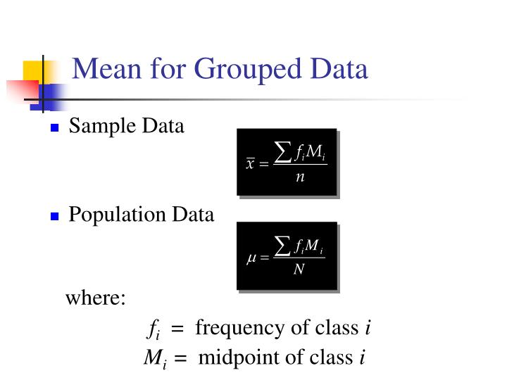 Mean for Grouped Data